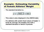 example estimating variability of female athletes weight2