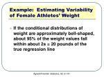 example estimating variability of female athletes weight3