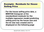 example residuals for house selling price