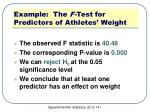 example the f test for predictors of athletes weight3