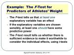 example the f test for predictors of athletes weight4