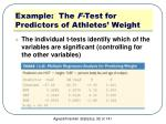 example the f test for predictors of athletes weight5