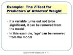 example the f test for predictors of athletes weight6