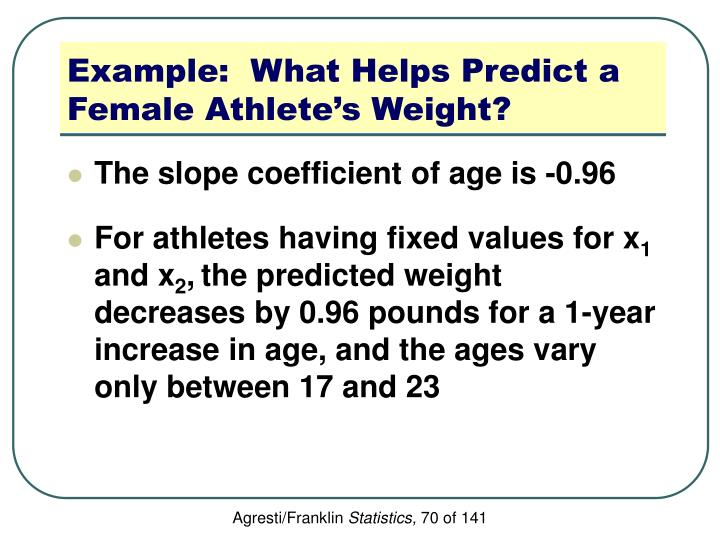 Example:  What Helps Predict a Female Athlete's Weight?