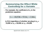 summarizing the effect while controlling for a variable1