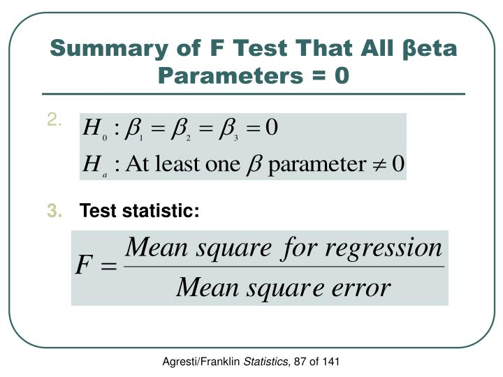 Summary of F Test That All