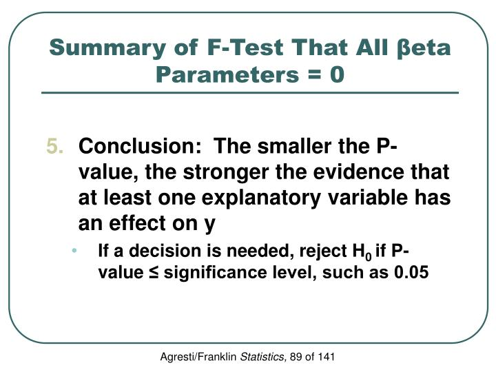 Summary of F-Test That All