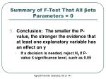 summary of f test that all eta parameters 03