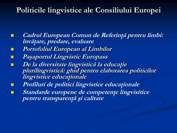 Politicile lingvistice ale Consiliului Europei