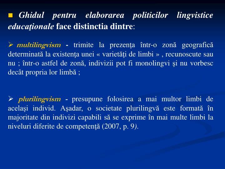 Ghidul pentru elaborarea politicilor lingvistice educaţionale
