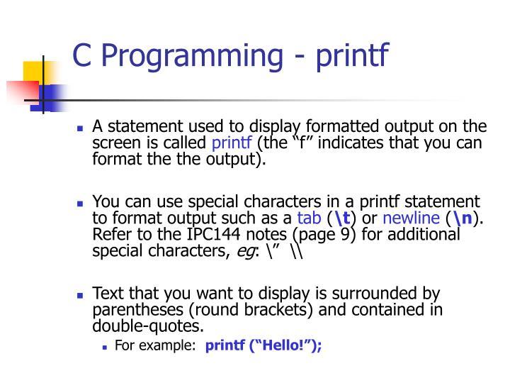 C Programming - printf
