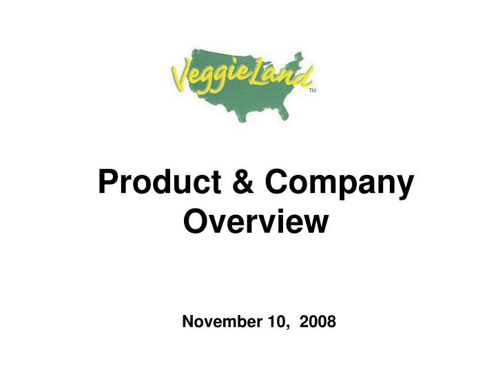 Product company overview