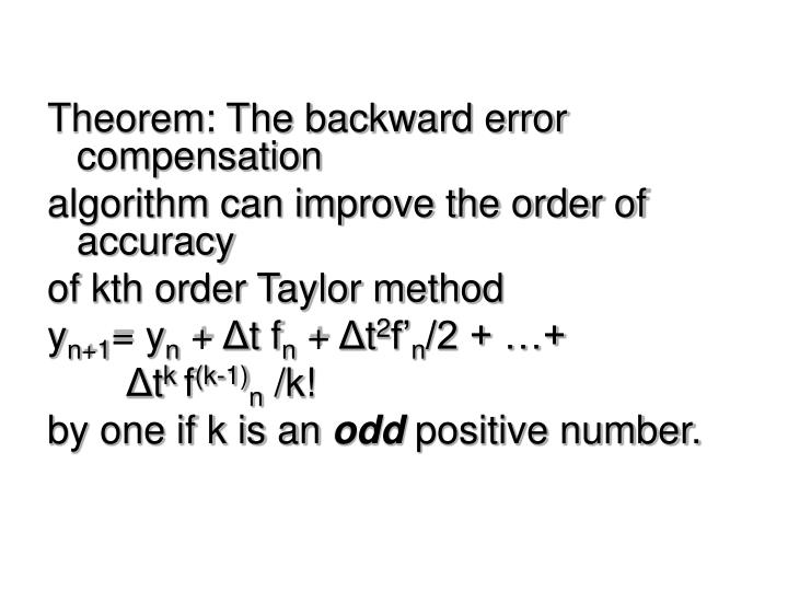 Theorem: The backward error compensation