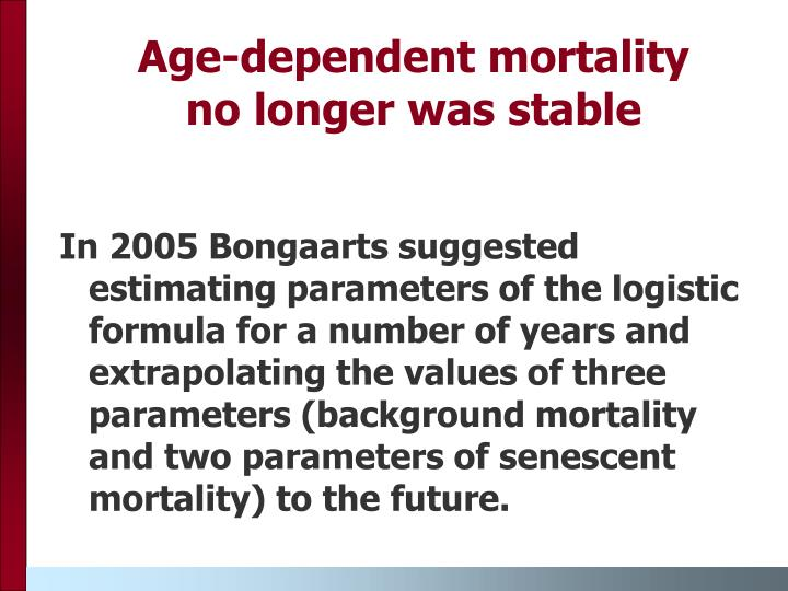 In 2005 Bongaarts suggested  estimating parameters of the logistic formula for a number of years and extrapolating the values of three parameters (background mortality and two parameters of senescent mortality) to the future.