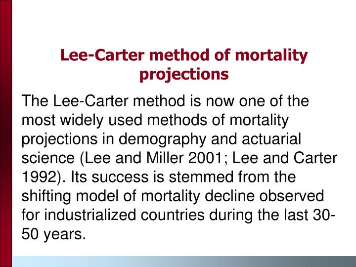 Lee-Carter method of mortality projections
