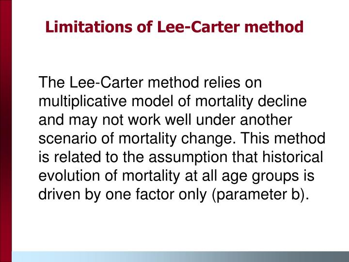 Limitations of Lee-Carter method