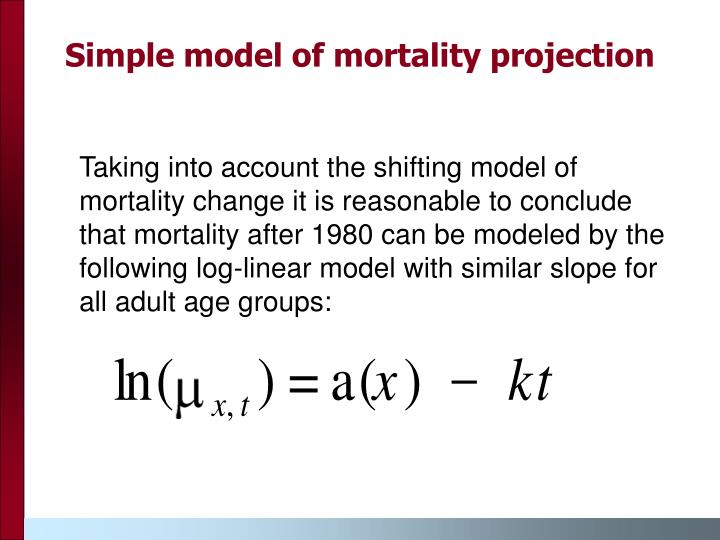 Simple model of mortality projection