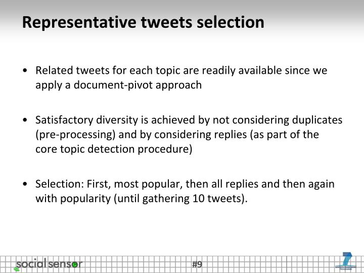 Representative tweets selection