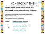 non stock items