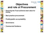 objectives and role of procurement