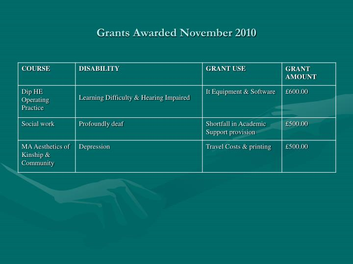 Grants Awarded November 2010