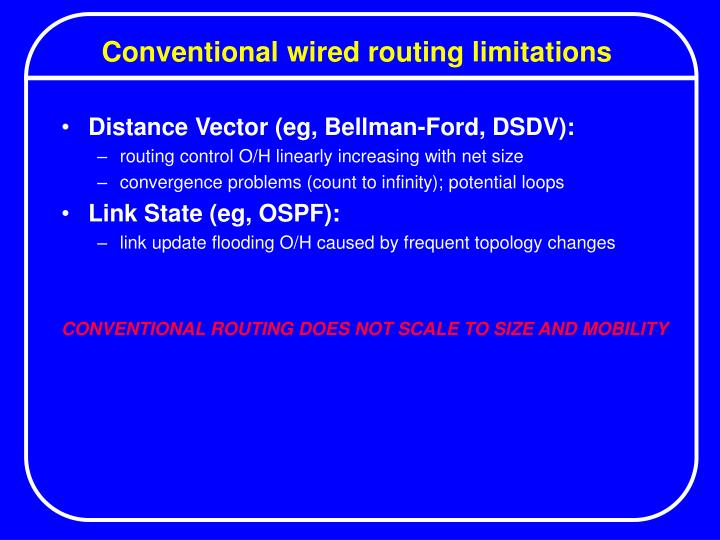 Conventional wired routing limitations