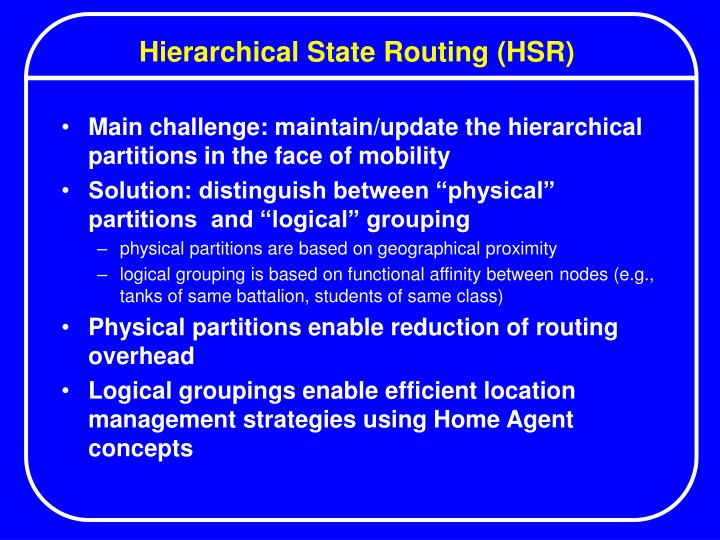 Hierarchical State Routing (HSR)