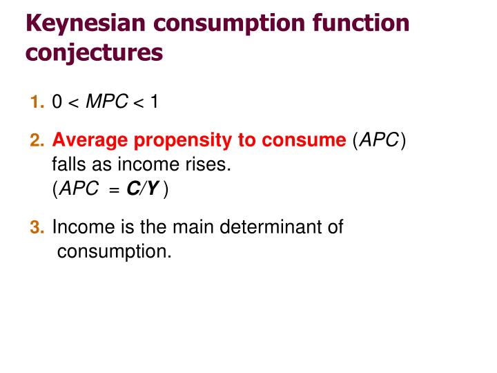 Keynesian consumption function conjectures