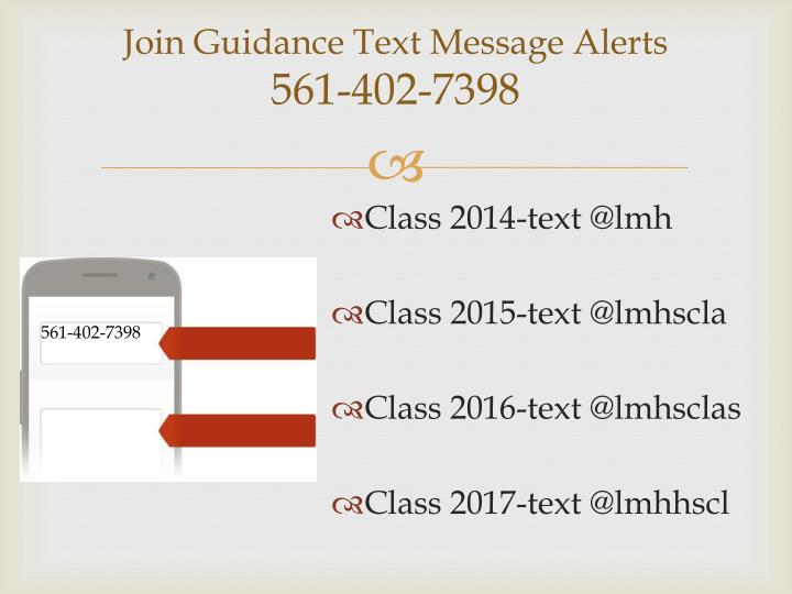 Join Guidance Text Message