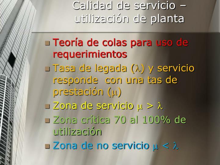 Calidad de servicio – utilización de planta