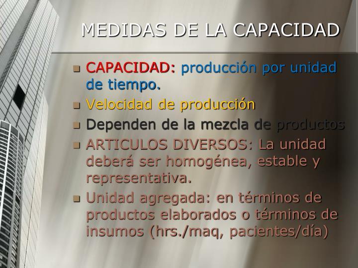 MEDIDAS DE LA CAPACIDAD