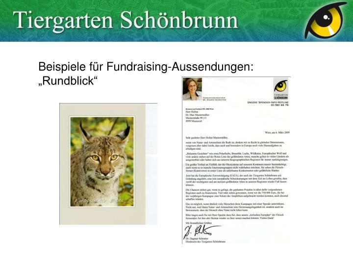 """Beispiele für Fundraising-Aussendungen: """"Rundblick"""""""