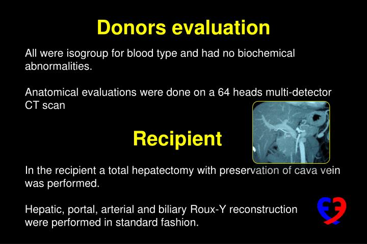 All were isogroup for blood type and had no biochemical abnormalities.