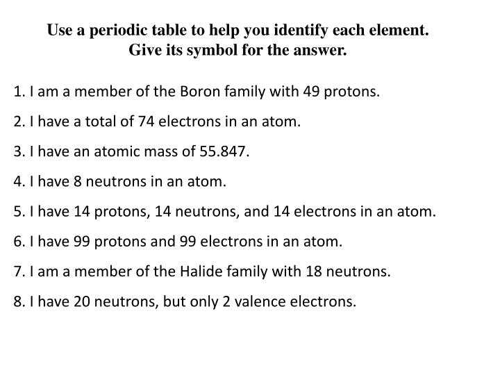 Use a periodic table to help you identify each element. Give its symbol for the answer.