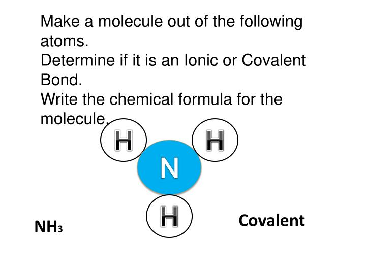 Make a molecule out of the following atoms.
