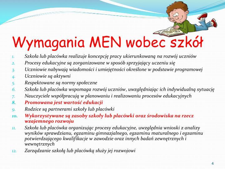 Wymagania MEN wobec szkół