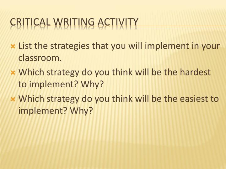 List the strategies that you will implement in your classroom.