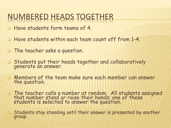 Have students form teams of 4.