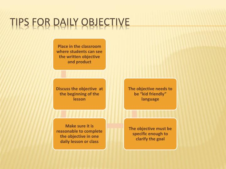 Tips for daily objective