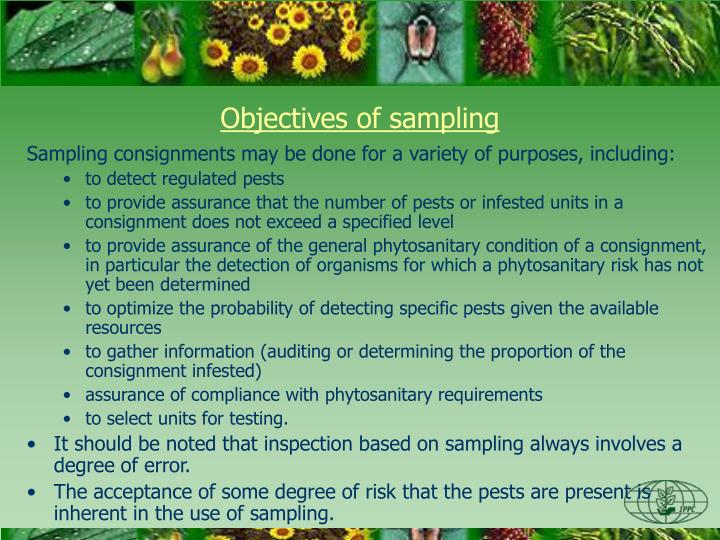 Objectives of sampling