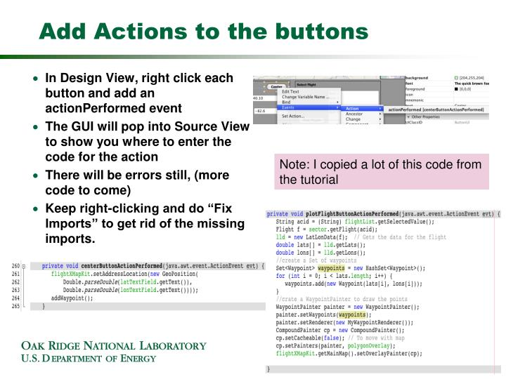 Add Actions to the buttons