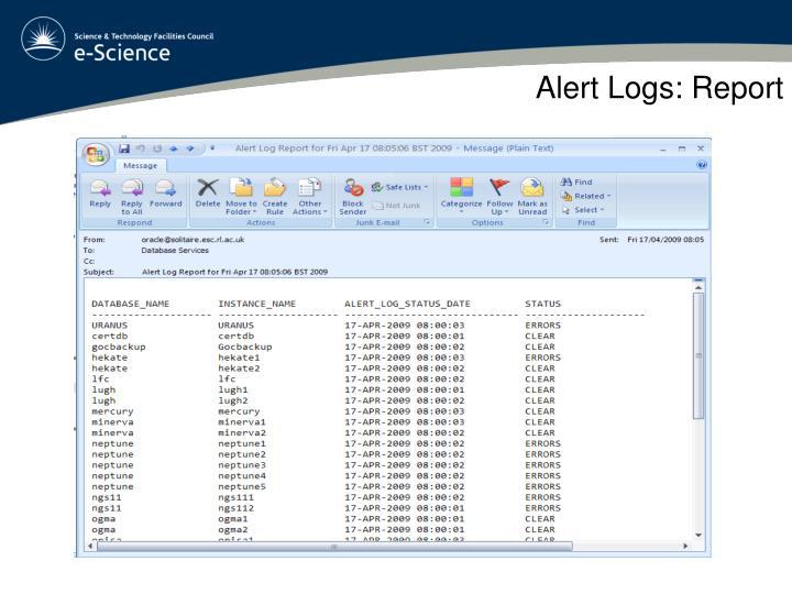 Alert Logs: Report
