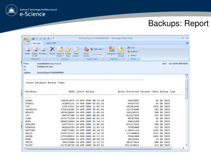 Backups: Report