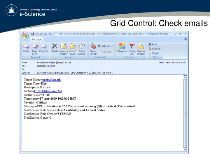 Grid Control: Check emails
