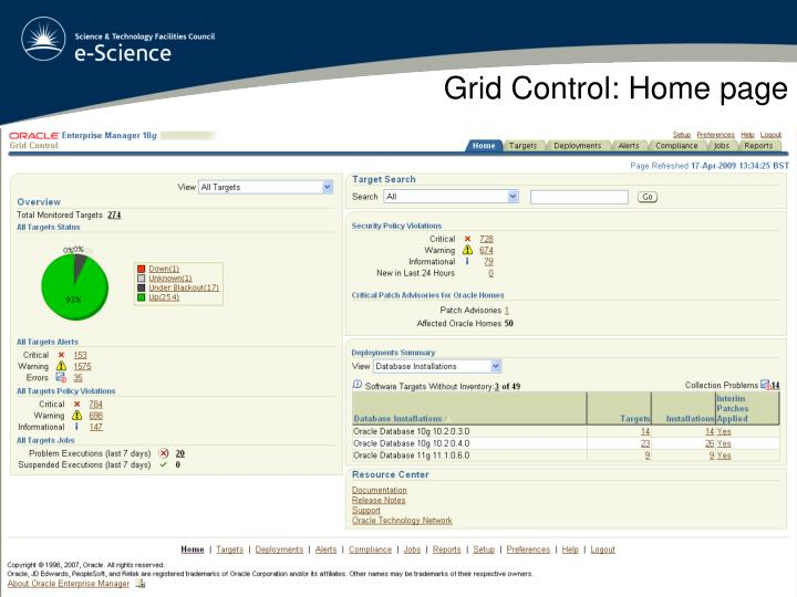 Grid Control: Home page