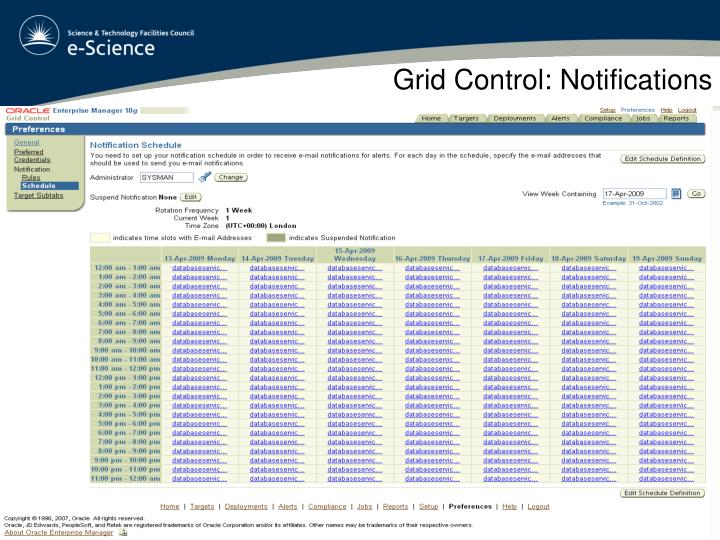 Grid Control: Notifications