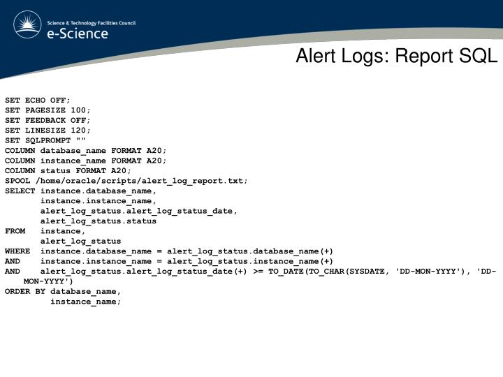 Alert Logs: