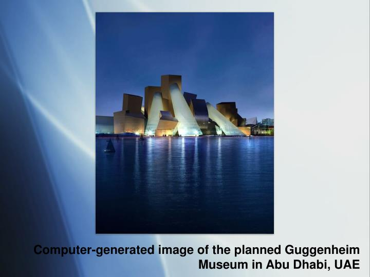 Computer-generated image of the planned Guggenheim Museum in Abu Dhabi, UAE