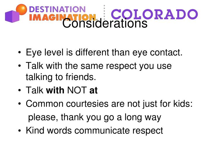 Eye level is different than eye contact.