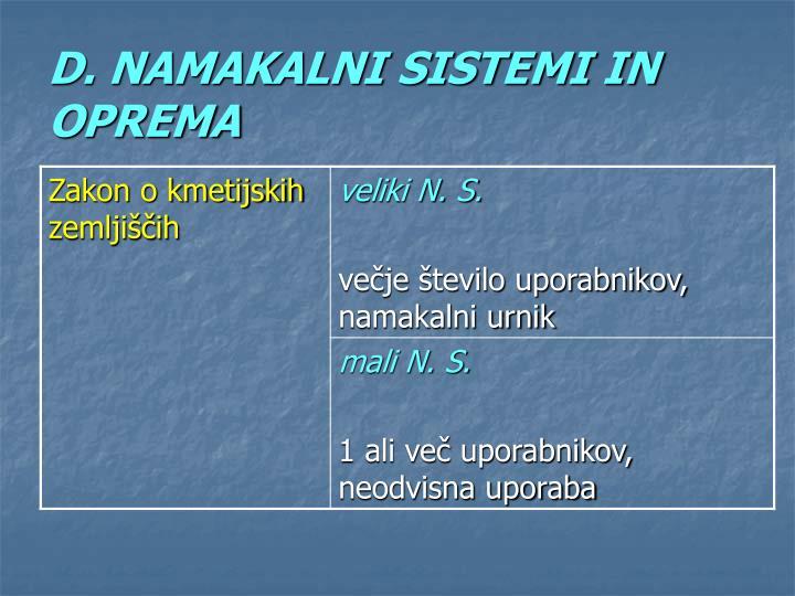 D. NAMAKALNI SISTEMI IN OPREMA